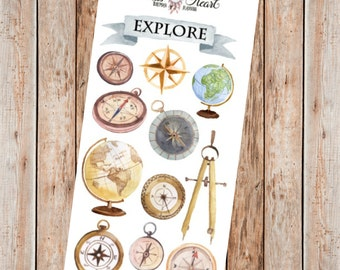 Vintage watercolor globe & compass planner stickers