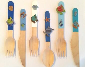 Ocean fun birch wood flatware