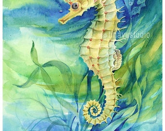 seahorse painting, seahorse art, seahorse watercolor, nautical art, nautical painting, seahorse print, giclee print, nautical wall decor