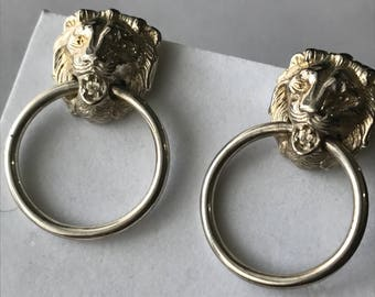 Lion Dangle Earrings - Silver Plated -  Victorian Revival Jewelry