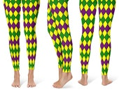 Mardi Gras Costumes - Jester Leggings Tights in Purple, Green and Gold Harlequin Pattern