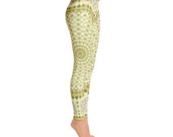 Unique Leggings - Yellow and Green Yoga Pants, Printed Leggings for Women, Workout Wear