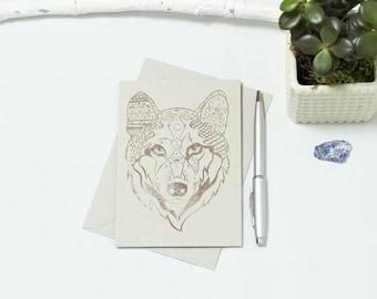 Sonya Tribal Wolf Greetings Card (Brown Wolf)