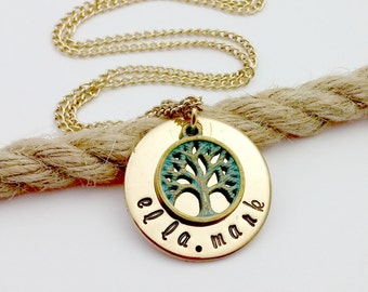 Personalized, Family Tree Necklace, Gold