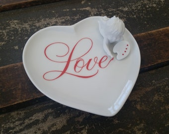 Heart porcelain dish with angel and love, Avon Love dish, Valentine's dish vintage