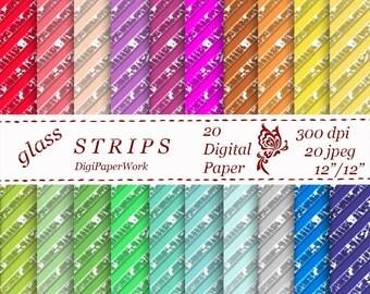 Stripe digital paper shattered Glass Stripe Digital Paper 20 colors scrapbooking Instant download strips pattern strip cracked