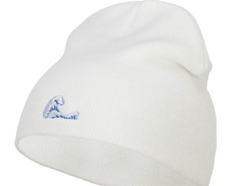 Mini Wave Embroidered Short Beanie