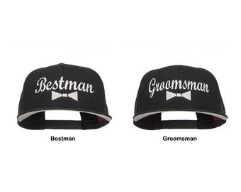 Bestman & Groomsman Bow Tie Embroidered Cotton Snapback