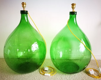 Matching and Rare Pair of Extra Large Vintage Emerald Glass Lamps