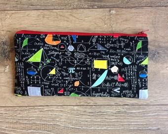 Maths pencil case, maths bag, maths print, maths gift, teacher gift, graduation gift, academic gift, geek chic, geek gift, nerd gift