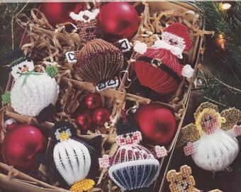 Christmas Balls, Leisure Arts Plastic Canvas Pattern Booklet 1724 Santa Reindeer Angel Elf & More HTF OOP