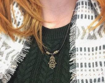 Hand of Fatima or Hamsa pendant necklace