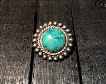 Vintage Navajo Sterling Silver/ Turquoise Brooch  #163