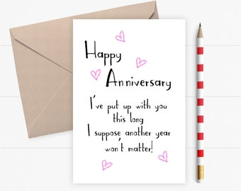 Funny Anniversary Card Funny Rude for Husband Wife Girlfriend Boyfriend  Funny Love Card Valentines Card