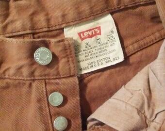 Vintage Levis 501 Button Fly Jeans Size 5 Jeans Med Camel Color 80s 90s Boyfriend Jeans High Waisted Colored Denim