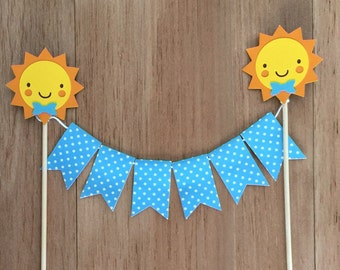 You Are My Sunshine Blue Cake Bunting with Optional Customizable Name for Birthday Party, First Birthday or Baby Shower