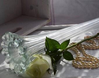 """Tall 15.5"""" green art deco cut glass vase"""