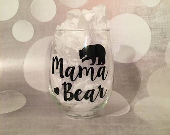 mama bear glass; mother's day
