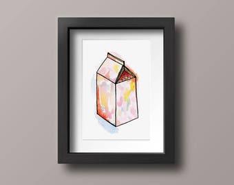 Milk Carton Illustration, Watercolor Print, Hand Drawn Design