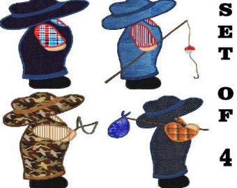 4 files Sunbonnet Sam Overall Bill embroidery Applique,4 sizes,8 formats(dst,exp,jef,hus,pes,vip,vp3,xxx),instant download,1 zip with PDF