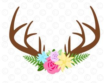 Floral Antler svg cut file, Antler flower SVG cut file, silhouette, cricut, antler decal, vinyl, deer svg, antler svg, flower svg