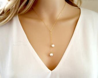 Lariat Pearl Necklace | Pearl necklace| Pearl Drop | Fresh Water Pearl necklace | Bridesmaids | Gift for Mom | Wedding necklace