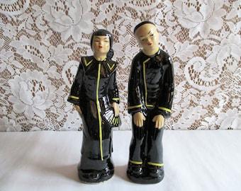 Vintage Asian Figurines Mid Century Ceramics Kitsch Decor Asian Couple Man and Woman Asian Boho Decor