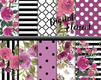 Digital Scrapbook Paper, Digital Paper, Floral Watercolor Paper Set, Shabby Floral Digital Paper Watercolor. No. P170