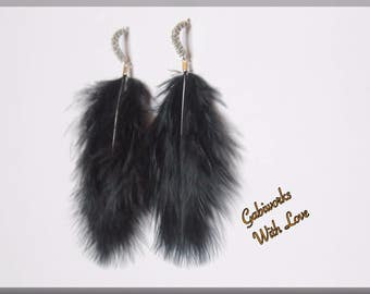 Handmade Feather Earrings, BLACK Feather Earrings, BLACK Fashion Earrings, Feather Earrings