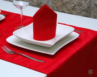 Luxury Red Table Runner - Anti Stain Proof Resistant - Pack of 2 units - Ref. Lines - Large hem