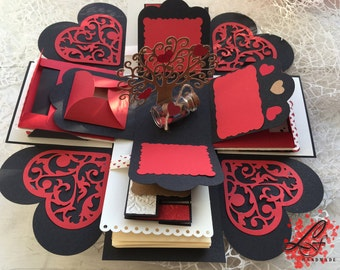 Love Exploding box, photo box, explosion photo box, Perfect gift for your Anniversary/ Valentines Day , Romantic present
