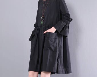 Women casual dress short dress round neck cotton dress with front pockets