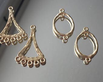 "Chandelier Earring Findings - Antique Gold Hammered 1-1/8-1-1/4"" Long - Sold Per Pair"