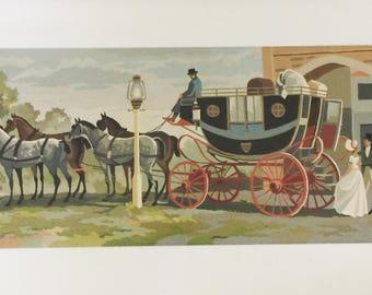 Vintage Old West Western Stagecoach Southwest ORIGINAL ART Painting Wells Fargo
