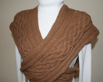 Outlander Inspired, CROSS VEST, COWL, 100% Alpaca, Handknit, Fawn/Light Brown Colored Alpaca, Cabled, Celtic Design, Beautiful Details