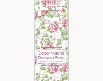 3 Sheets of Decoupage / Deco Mache Paper First Edition Garden Bloom