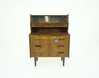 308-043 Danish Mid Century Modern Rosewood Secretary Desk