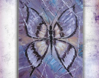 Anniversary Gift-for-mom Original Art Wall Decor Modern art painting Butterfly wall art Living room decor Best friend gift Large painting