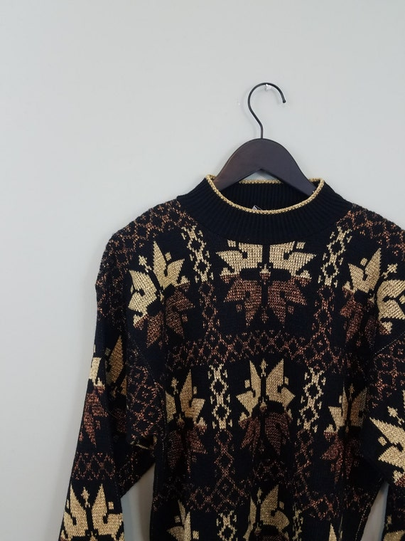 1980s Metallic Snowflake Sweater / Bronze, Gold, and Black Ski Pullover / Modern Size Large L to Extra XL