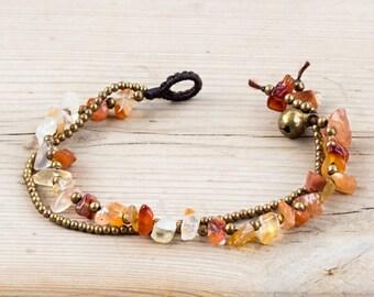 Beach Bracelet // Citrine Bracelet // Crystals Bracelet // Summer Bracelet // Citrine Stones Bracelet // Quartz Bracelet
