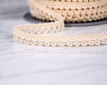 6 m Ribbon 12mm, cotton, white broken, (4763)