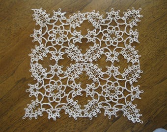 Handmade Ecru/Tan/Beige Square Tatted Lace Doily