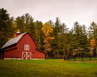 Red Barn Photography Landscape Photo Farm Photo Trees Print Printable Poster Wall Art Country Poster Rustic Home Wall Decor Digital Download