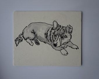 Corgi watercolor, Corgi painting, acrylic corgi, Corgi dog art, Corgi artwork, Welsh corgi dog, Welsh corgi painting, corgi