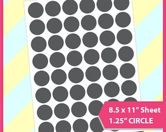 "Instant Download, 1.25"" Circle Template, PSD, PNG and SVG Formats,  8.5x11"" sheet,  Printable 035"