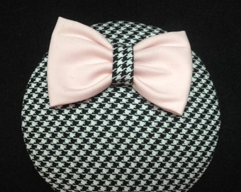 Fascinator Pepita black white Houndstooth with Pink Ribbon for everyday