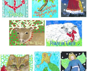 """Set of 8 Mini Christmas Cards with envelopes, 2 x 3"""""""