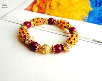 Handmade beaded bracelet for her, glass bead bracelet, yellow, purple bracelet