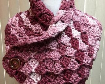 Crochet Neck Warmer, Pink Button Cowl, Button Scarf, Pink Neckwarmer, Burgundy Scarf, Pink Cowl Scarf, Button Neckwarmer, Winter Scarf