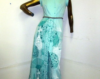 a beautiful asian print vintage 70s SHAHEEN dress,thinking outside the ordinary sz s